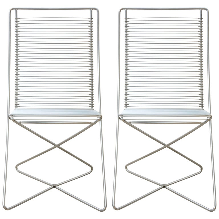 Set of Two Stackable Cantilever Chrome Wire Desk Chairs by till Behrens, 1983