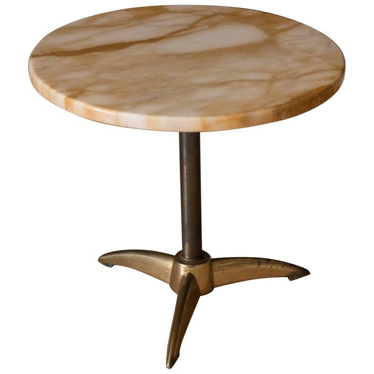 Vintage Marble Pedestal Side Table