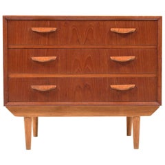 Early Danish Teak Chest of Drawer in Teak and Oak, 1950s