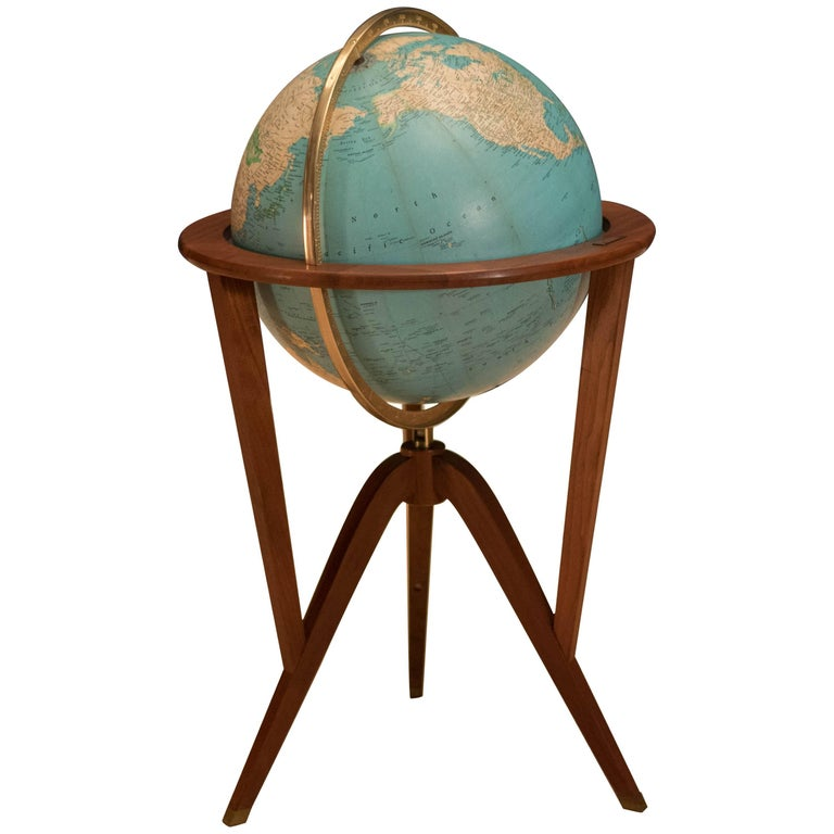 Vintage Illuminated Edward Wormley Globe Stand for Dunbar