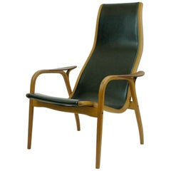 Vintage Oak and Black Leather Highback Lamino Chair by Yngve Ekstrom for Swedese