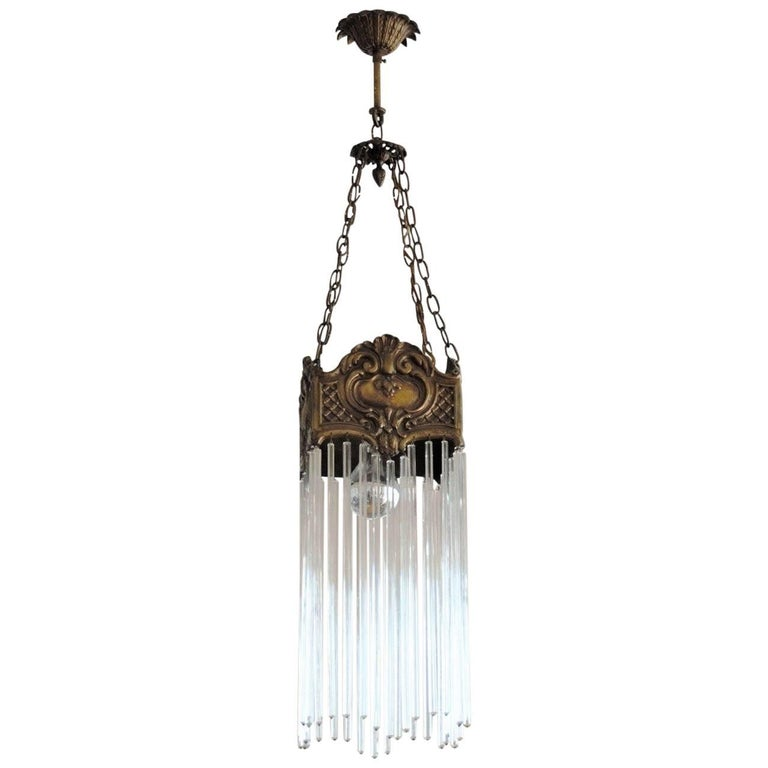 Art Nouveau Period Bronze and Long Faceted Crystal Rods Chandelier or Lantern