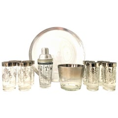 Mid-20th Century Sterling Silver and Glass Drinks Set of 11 by, Dorothy Thorpe