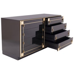Pierre Cardin Black Lacquer and Brass Drawer Cabinet