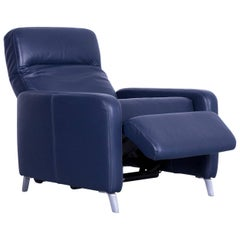 Musterring Leather Armchair Blue One-Seat Recliner