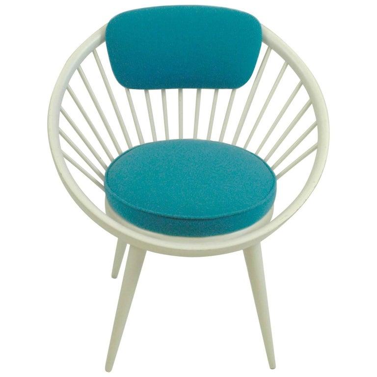 White and Blue Scandinavian Modern Circle Chair by Yngve Ekström