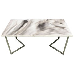 "Contemporary Resin Dining Table ""Marble Skies"" on Satin Steel Base"