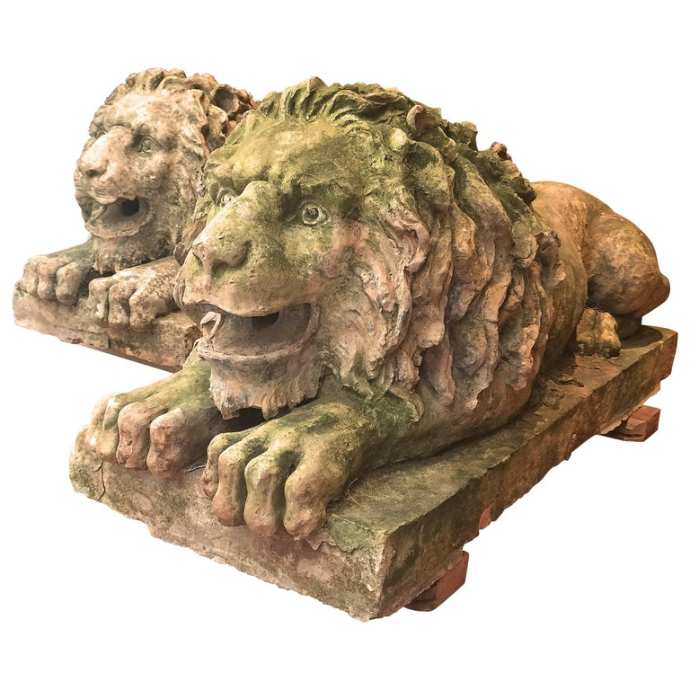 Pair of 18th Century Italian Terracotta Lion Sculptures available separately