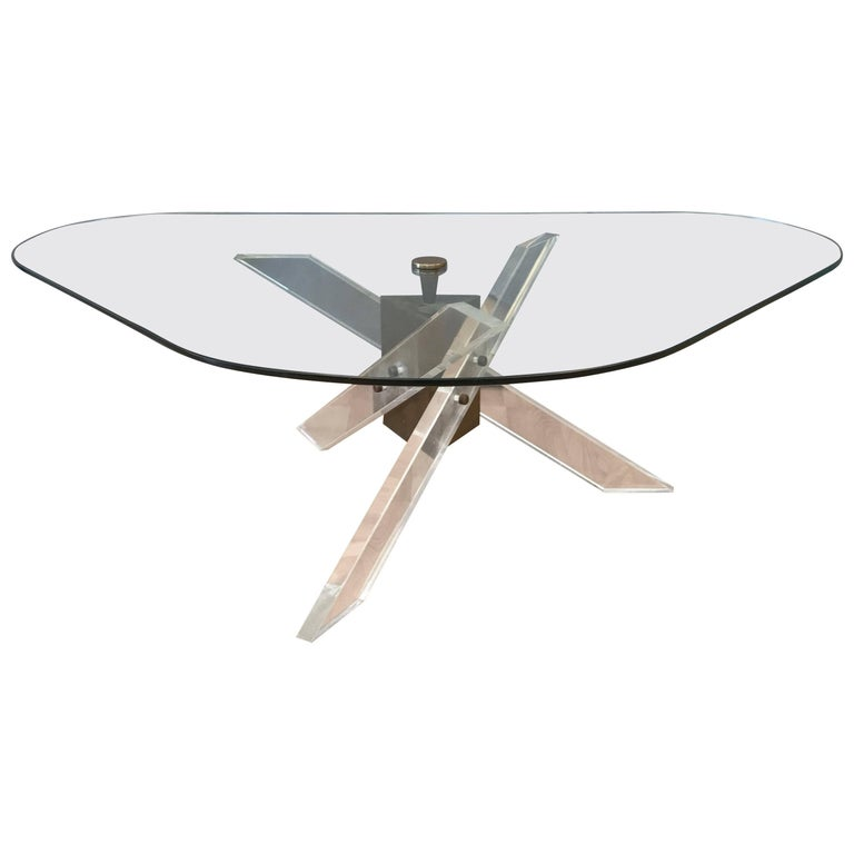 Architectural Lucite and Patinated Brass Tripod Base Coffee Table