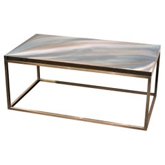 "Colored Resin Coffee Table ""Malachite Waves"" with Satin Stainless Steel Base"