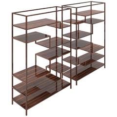 Pair of Macassar Design Shelves