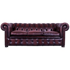 Chesterfield Leather Sofa Red Three-Seat Couch