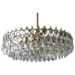 1960s Bakalowits Crystal Chandelier with Brass Frame