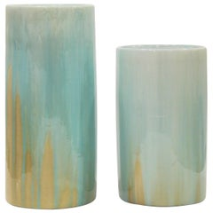 Set of Colored Resin and Porcelain Vases