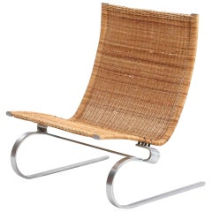 "Poul Kjærholm ""PK 20"", Easy Chair with Steel Frame, Woven Cane"