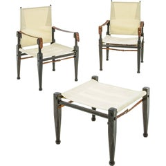Bernard Marstaller, Pair of Armchairs and Stool, Wood, circa 1955, Italy
