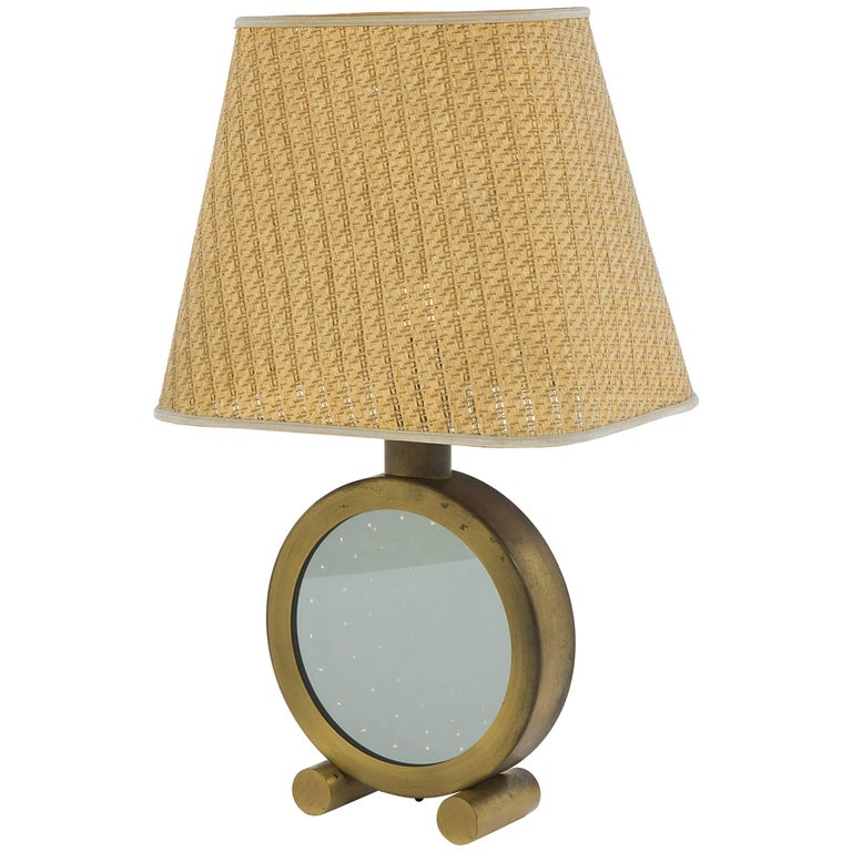Table Lamps, Polished Brass and Glass, circa 1970, Italy