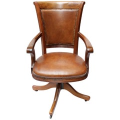 Art Deco Leather Captains Office Chair, Swivel Frame