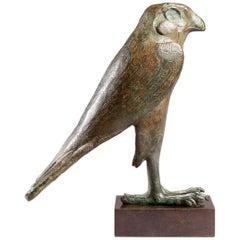 Egyptian Bronze Horus Falcon, Late Dynastic Period, 664-343 BC