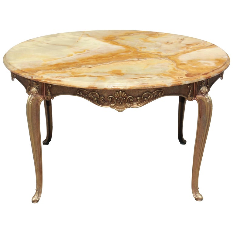 Classic French Maison Jansen Round Coffee or Cocktail Bronze Table, circa 1940s