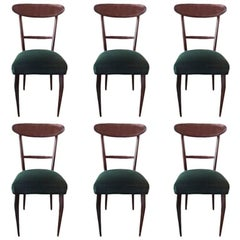 Original Ico Parisi, Six Dining Chairs with Green Colored Velvet, Italy, 1950