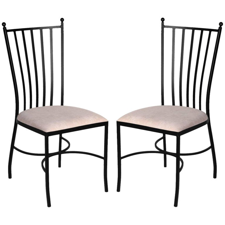 Pair of Two Garden Chairs in Brown Wrought Iron