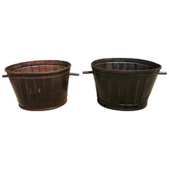 Pair of Ribbed French Steel Grape Bucket Planters
