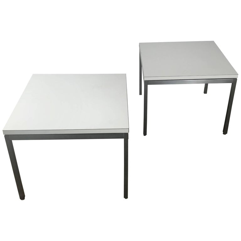 Pair of Early Florence Knoll for Knoll Stainless Steel and Laminate Side Tables