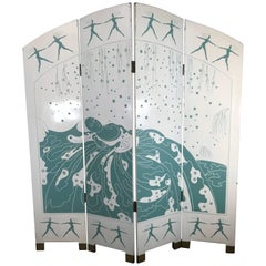 Unusual Art Deco Style Carved and Lacquered Screen, Room Divider
