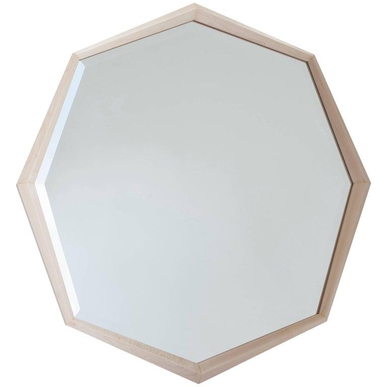Stellar Mirror Octagonal Beveled Mirror Maple Frame