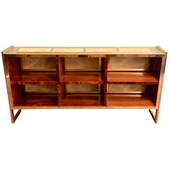 Mid-Century Modern Wood, Brass and Light Green Artistic Murano Glass Bookcase