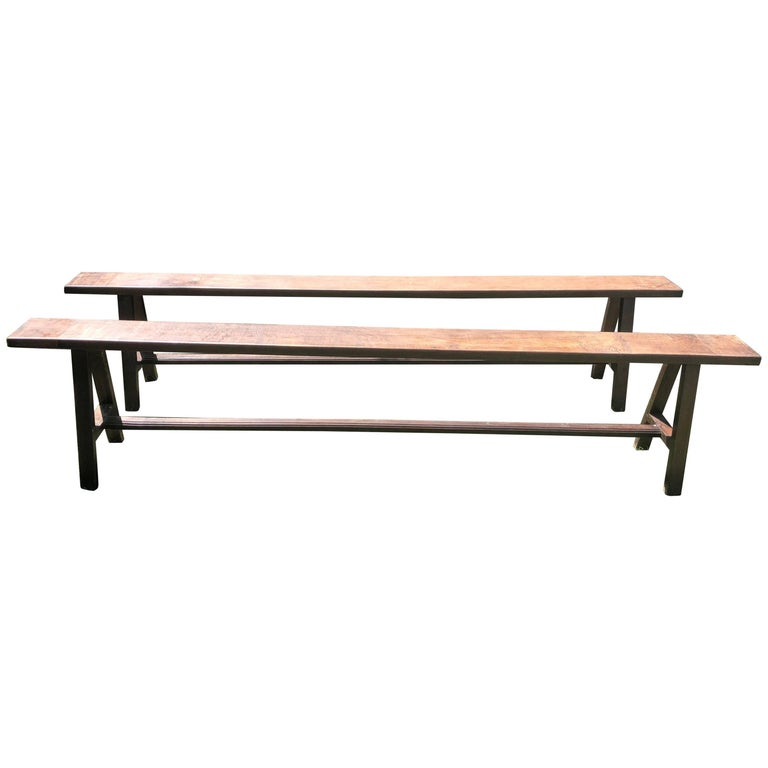 Pair of Very Long French Oak Benches
