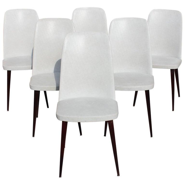 Beautiful Set of Six French Art Deco Solid Mahogany Gondola Dining Chairs