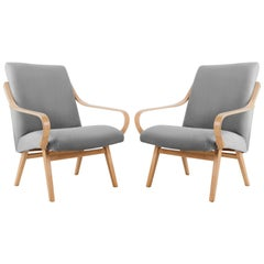 Pair of Grey Armchairs, Jaroslav Šmidek for Ton, Czech Republic, 1960s