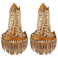 Set of Two Bronze and Crystal Chandeliers in Sac a Perle Style