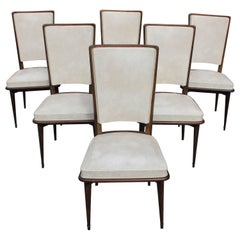 Classic French Art Deco Solid Mahogany Dining Chairs, circa 1940s