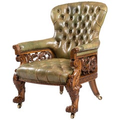 Finely Carved Library Armchair