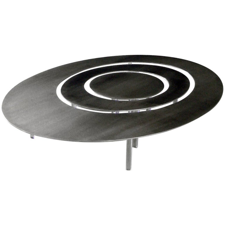 Oval Coffee Table With Metal Legs: Raindrops Oval Set Of Coffee Tables, Stainless Steel Top