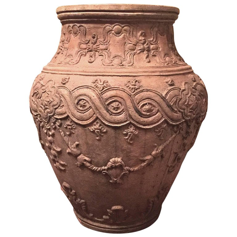 18th Century Italian Naples Outdoor Carvin Terracotta Antique Jar