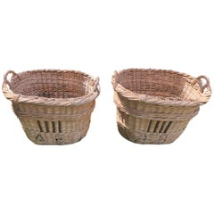"Pair of Large French Champagne Baskets Marked ""AB"""