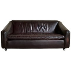 Vintage Midcentury Artifort Leather Sofa Model 600 by Geoffrey Harcourt, 1970s