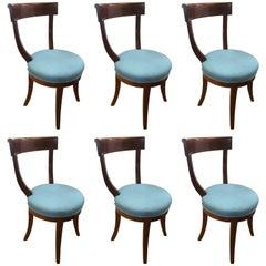 Signed Margolis Mahogany Inlaid Dining Chairs, Set of Six
