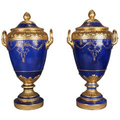 Monumental French Sevres School Hand-Painted Cobalt and Gilt Porcelain Urns