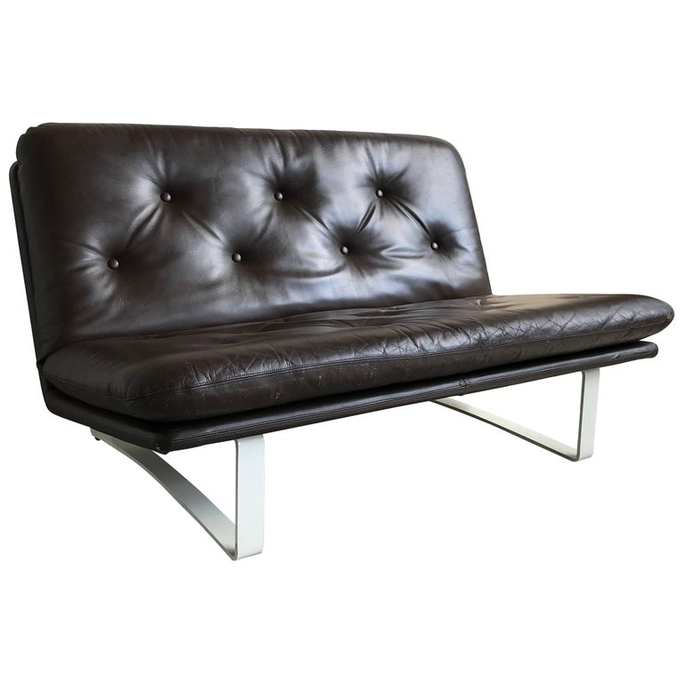 Vintage Artifort C684 Sofa by Kho Liang Ie 1960s, Original Leather Upholstery