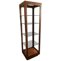 Lane Midcentury Tall Wood and Glass Étagère Display Shelves