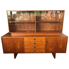 Scandinavian Danish Modern Teak China Cabinet Display Case Sideboard