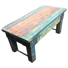 Primitive and Gorgeous Painted Reclaimed Wood Bench