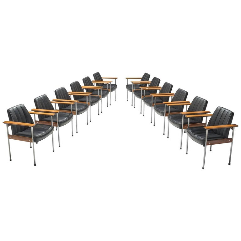 Sven Ivar Dysthe Large Set of 12 Chairs in Black Leather and Walnut
