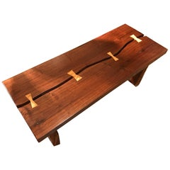 Beautiful Adirondack Style Handcrafted Walnut Bench or Coffee Table