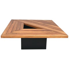 Amazing Wood Coffee Table Attributed to Cassina